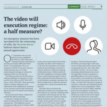 New Law Journal publishes Dr Nicholas Bevan's latest feature on video wills